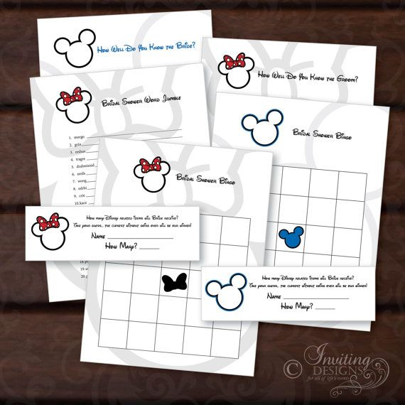 Mickey OR Minnie Bridal Shower Games - Ready to Print - Print Your Own  / Printable