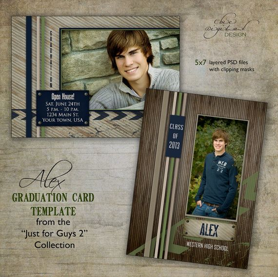 "Graduation Announcement Card Template for photographers / Just for Guys 2 - ""ALEX"" / Millers/Mpix & WHCC specs"
