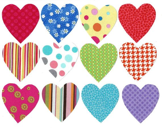 Heart iron on fabric appliques DIY  size small by patternoldies