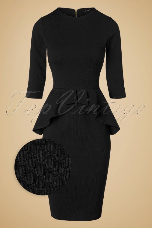 Vintage Chic - 50s Leslie Peplum Dress in Black                                                                                                                                                                                 More