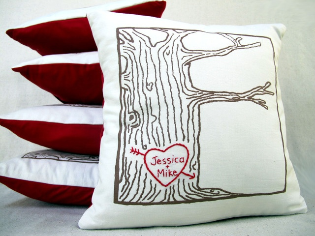 custom heart names tree print pillow cover - personalized sweetheart tree cotton anniversary gift gift for couples tree heart pillow & 9 best Screen Printing Ideas images on Pinterest | Screen printing ... pillowsntoast.com