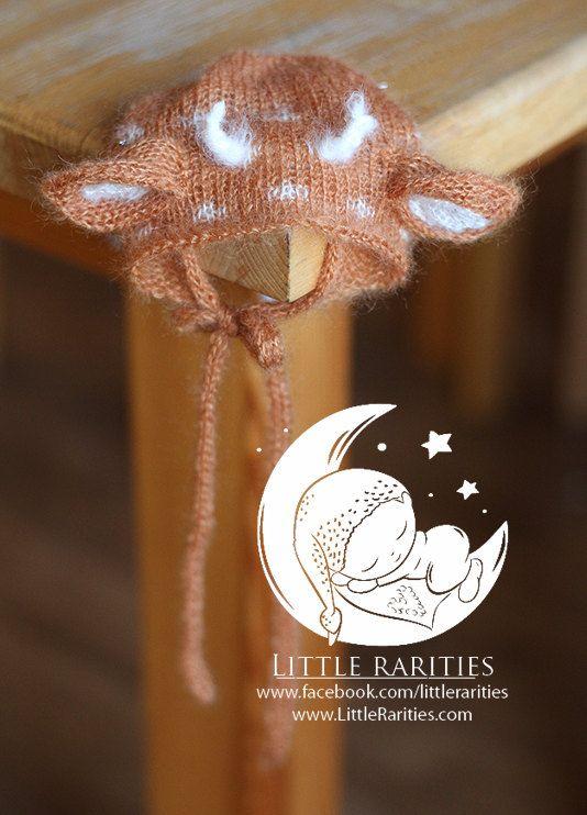 a little roe-deer hat  luxury hat  newborn by LittleRaritiesStudio