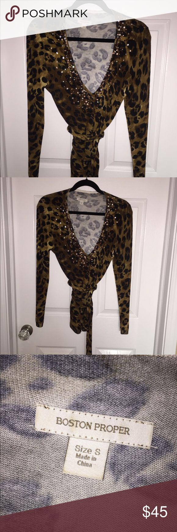 Boston Proper animal print belted cardigan Beaded and sequins with beautiful crystals on the buttons and in the design of the neckline.  Brown and black Boston Proper Sweaters Cardigans