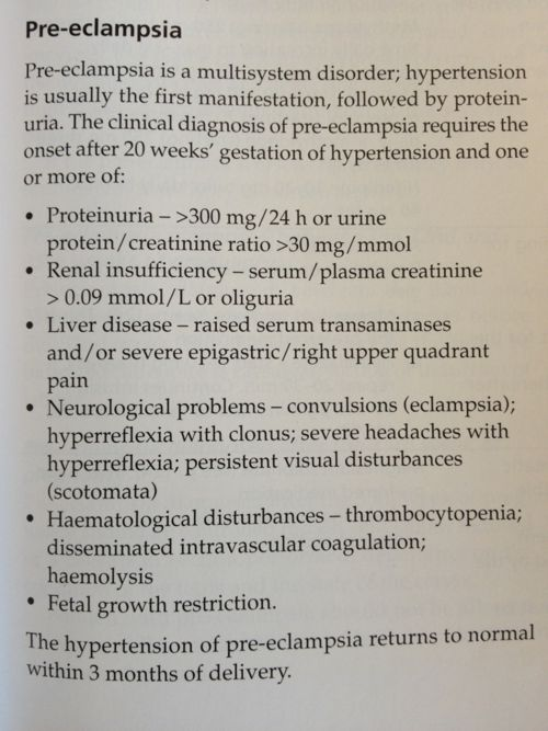 """Pre-eclampsia    Source – Llewellyn-Jones """"Fundamentals of obstetrics and gynecology"""""""