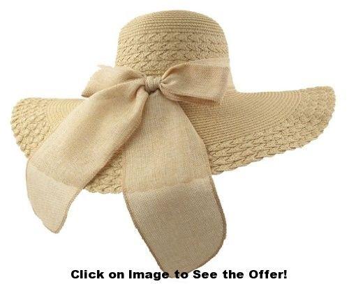 JTC(TM) Women Floppy Sun Hat Beach Cap Bohemia Foldable Visor Prop Outfit Bow Camel