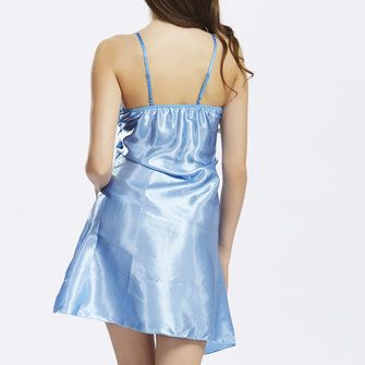 Women Sexy Satin Spaghetti Strap Sleepwear Deep V Hollow Lace Nightdress at Banggood