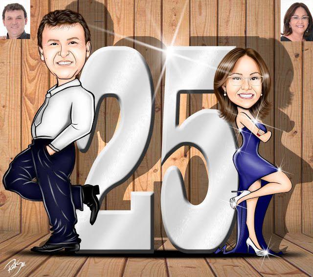 Caricaturas digitais, desenhos animados, ilustração, caricatura realista: Desenho de casal , tema Bodas de Prata !!