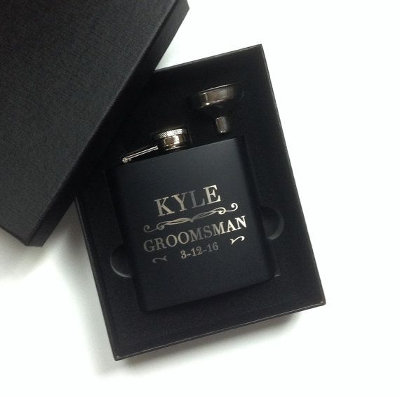 Groomsmen Gift Engraved Hip Flask Groomsmen Flask by AKLaser