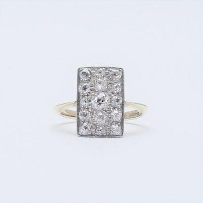 Diamond Panel Yellow Gold And Platinum Ring