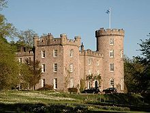 Castle Forbes is a 19th-century Scots Baronial country house near Alford in Aberdeenshire, Scotland.  The 6,000 acres (2,400ha) Vale of Alford estate has been home to the Forbes' for over 600 years. The original house was named Putachie.[1] The present castle overlooking the River Don was built in 1815 by the 17th Lord Forbes, to designs by the architect Archibald Simpson.