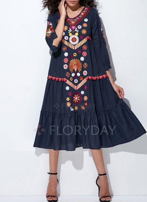 Sukienki - $59.99 - Bawełna Kwiatowy 3/4 Rękawy Do Połowy Łydki Nieformalny Sukienki (1955129244)