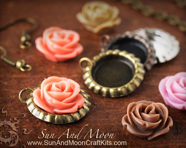 Mini Bottle Cap Earring Kit w Rose Flower Cabochons with Your Choice of Colors from the Sun And Moon Craft Kits website.