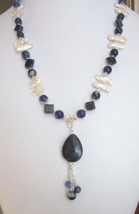 Blue and White Necklace of Navy Blue Sodalite and Dumortierite, Fresh Water Biwa (Stick) Pearls and Swarovski Crystals, OOAK, Handmade