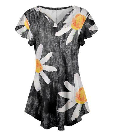 aca79afd Loving this Gray & White Daisy Flutter-Sleeve V-Neck Tunic - Women & Plus  on #zulily! #zulilyfinds