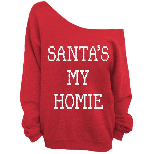 Santa's My Homie - Ugly Christmas Sweater - Red Slouchy Oversized... ($29) ❤ liked on Polyvore featuring tops, shirts, sweaters, jumpers, slouchy tops, loose fit tops, ugly christmas sweater shirt, red top and loose shirts