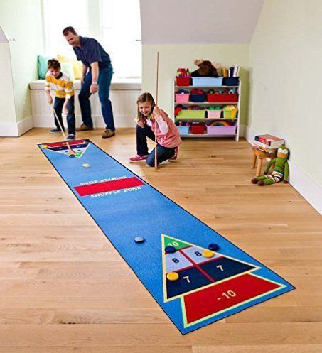 Shuffle-Zone-Play-Carpet-Indoor-Outdoor-Shuffleboard-Game-for-Kids-2-Wooden-Cues-10-Wooden-Pucks-Fun-Strategy-Game-225W-x-12L