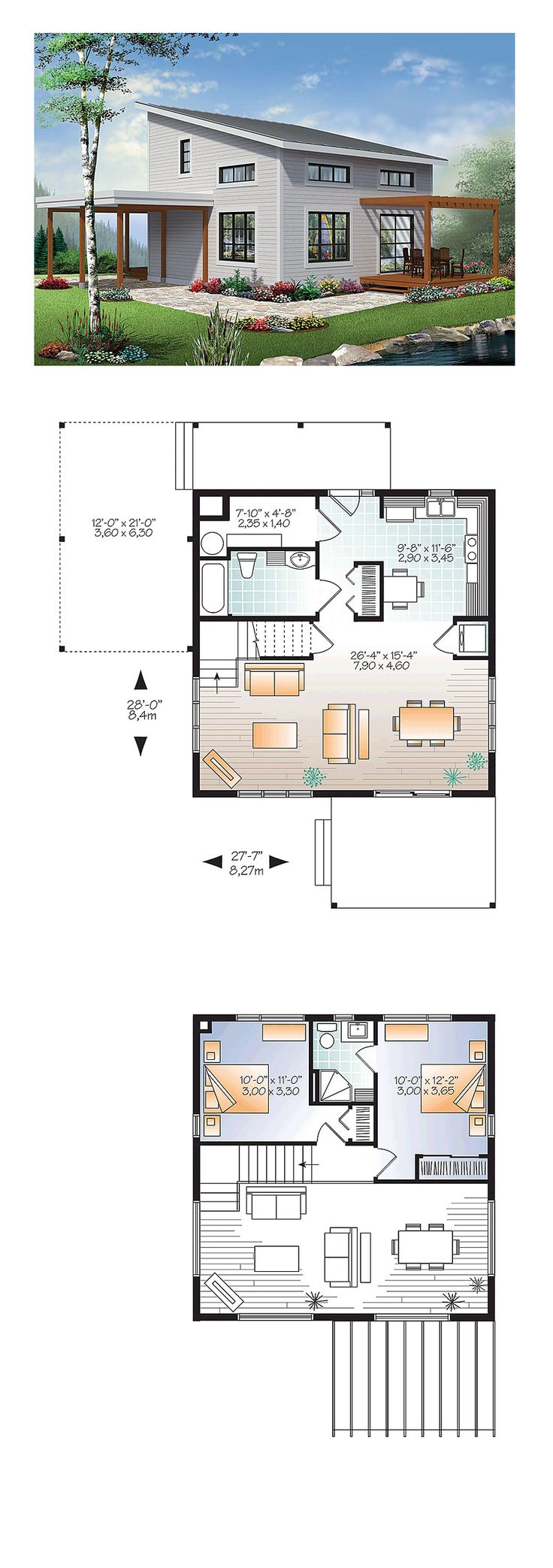 Modern House Plan 1200 sq. ft., 2 bedrooms and 2 bathrooms. This plan has an entrance foyer, an open floor plan living/ dining room with cathedral ceiling along with a mezzanine that has two bedrooms, one a master suite with a full bathroom that includes a corner shower.  #modernhouse