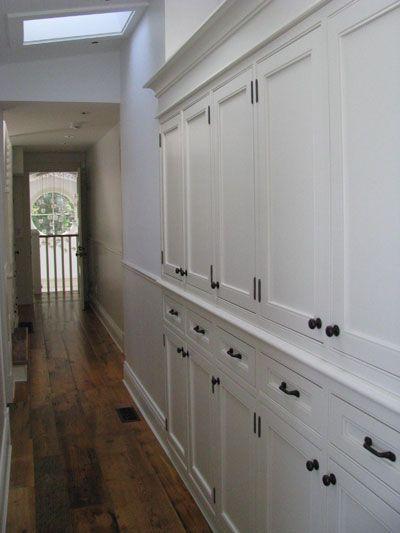 Built-in hallway linen cabinets