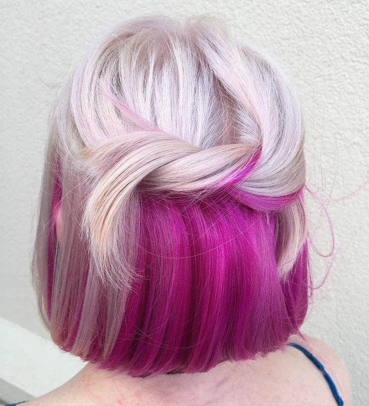 Pink Underneath Blonde Hair Hidden Hair Color Hair Color Underneath Peekaboo Hair