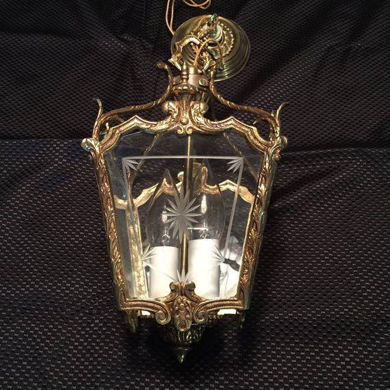 Vintage Brass Pendant Lantern Ceiling Light