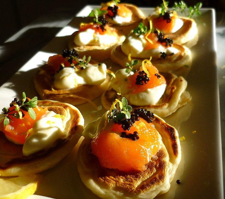 Blinis with Smoked Salmon, Sour Cream and Caviar