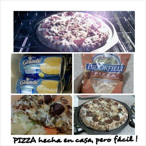 Pizza hecha en casa .... del modo fácil!   •2 latas  (12oz) de golden layer buttermilk biscuits (Pillsbury Grands! Jr)   •1 pote  (15oz) salsa de pizza (puedes usar la salsa de spagetti chunky)   • albahaca seca a gusto  •2 tazas de queso mozzarella (o la mezcla de quesos que dice PIZZA)   •Y tus toppings favoritos para  pizza -  salchicha italiana picadita y cocida ,  pepperoni, pimiento picadito y cebolla picadita   •cooking spray   ♦ molde para pizza (puedes usar hasta el molde de…