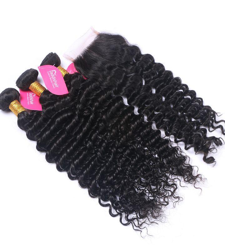 Faddishair 3 Pcs 100 Human Hair Extensions Deep Wave With 1pc Cheap Lace Closure
