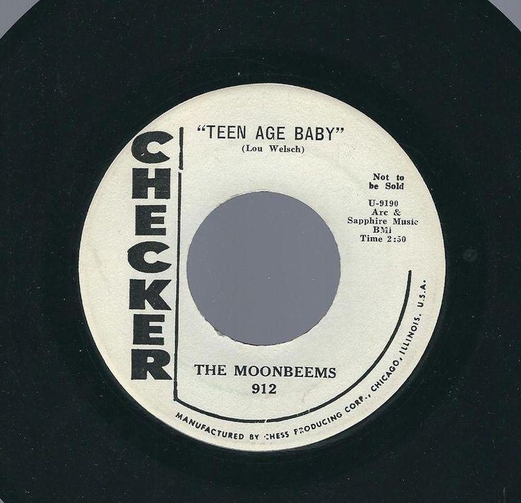 """MOONBEEMS~""""TEEN AGE BABY""""~1959 ORIG.CHECKER 912  DOO-WOP 45 Vinyl  WL Promo EX #ClassicRBDooWop"""