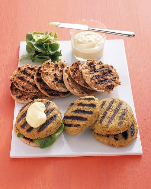 vegitarian chickpea burgers with peanuts or almonds, cumin, ginger.