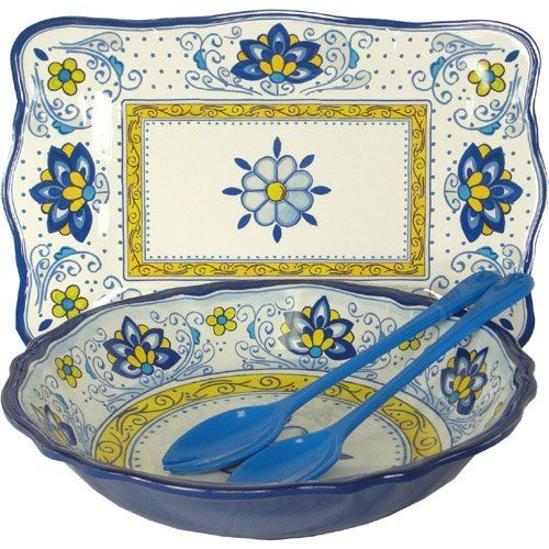 Amalfi Blue And Yellow Le Cadeaux Melamine Dinnerware 4