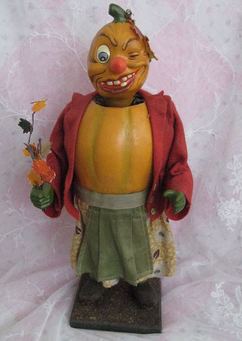 vintage german goblin nodder halloween decoration dolls and lacecom - German Halloween Decorations