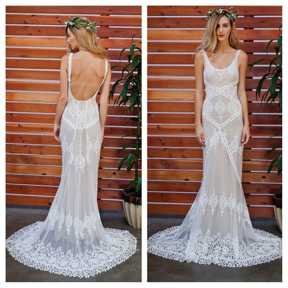 Cecilia Lace Bohemian Wedding Dress   Cotton Lace with OPEN BACK and SILK liner   Handmade    Boho Romantic Rustic Wedding Dress