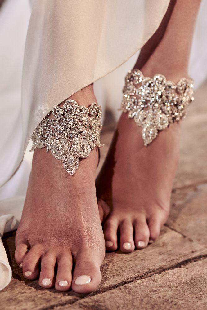 5a428c8433297 beach wedding shoes silver pearl escent hand beaded embellishment beach  barefoot blosoom footcuff anna campbell
