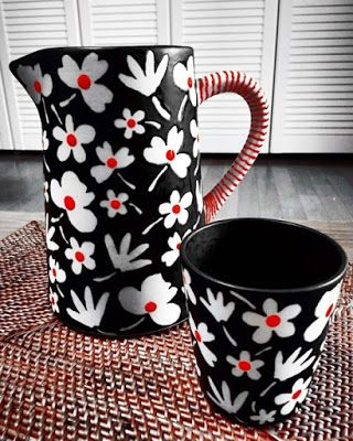 design meets the story......munbim: ReD dOt fLoWeR - jug & cup