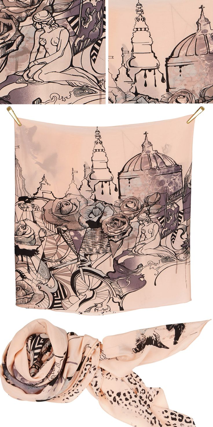 CPH silk scarf | Rose/Grey/Black Beautiful silk scarf, size 70x190cm, in 100% Silk Crepe de Chine with rolled hand stitched edges #aw16 #print CPH Copenhagen København towers and the little mermaid #bike #roses #waves #city #Denmark #fashion #Danish #design