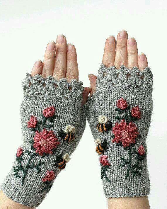 guantes tejidos a mano