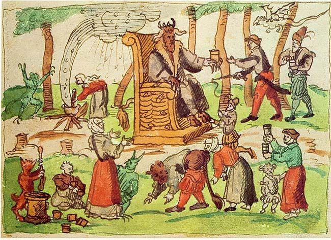 Afbeelding van een duivelsverering tijdens een sabbat in Genève. Johann Jakob Wick, 1570. Afbeelding uit een kroniek die tussen 1560 en 1587 gebeurtenissen beschrijft als overstromingen, aardbevingen, vreemde voorvallen en ook hekserij. Wick ziet deze gebeurtenissen als tekenen van het einde van de wereld. Zijn kroniek en een aantal vlugschriften worden Wickiana genoemd.