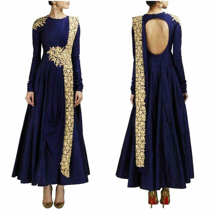 Featuring a navy blue raw silk anarkali with gold dori work detailing on waist and shoulder. It comes long with a churidaar and dupatta with gold dori work detailing. Title : Blue designer embroidered dress for women Size : Free Color : Blue Fabric : Raw silk and Net Type : Embroidered Occasion : Festive Wedding Ceremony Party Neck Type : Round Neck Sleeve Type : Full Sleeve Price : 2950 INR Call / Whatsapp : 91 9054562754 for any order/ inquiry. #shopnow #coutureattire