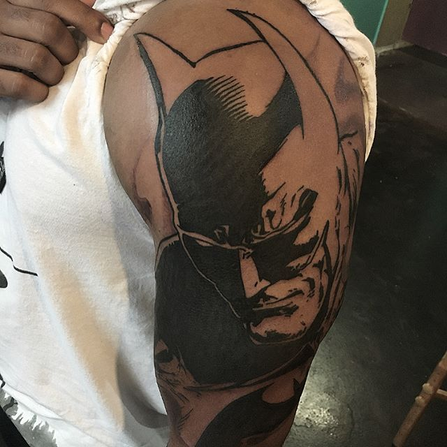 Batman memorial tat and a fun batman silhouette I did a while ago and forgot to post #San diego#pacificbeach #missionbeach #oceanbeach #lajolla #comic #batman #rip #dccomics #comiccon #tattoo #tattoos #lajollalocals #sandiegoconnection #sdlocals - posted by Adios MFer  https://www.instagram.com/adios_sst. See more post on La Jolla at http://LaJollaLocals.com