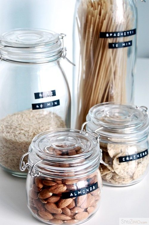 glass jars with #dymo labels: love how she has added labels for cooking times as well!