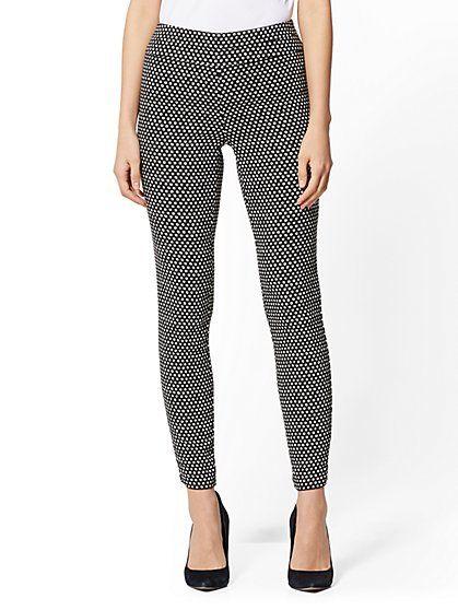 ab1b1b22dee6 7th Avenue Pant - Black & White High-Waist Pull-On Slim Leg - Signature - New  York & Company