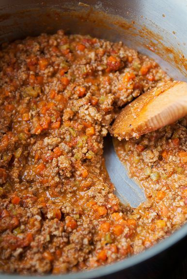 Bolognese Sauce - from Essentials of Classic Italian Cooking by Marcella Hazan: