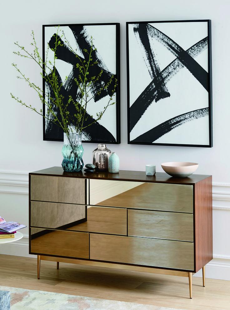 Nouveau Mirror Storage Collection, $399-$1,299; West Elm Print Double X, Running Man, $279-$349