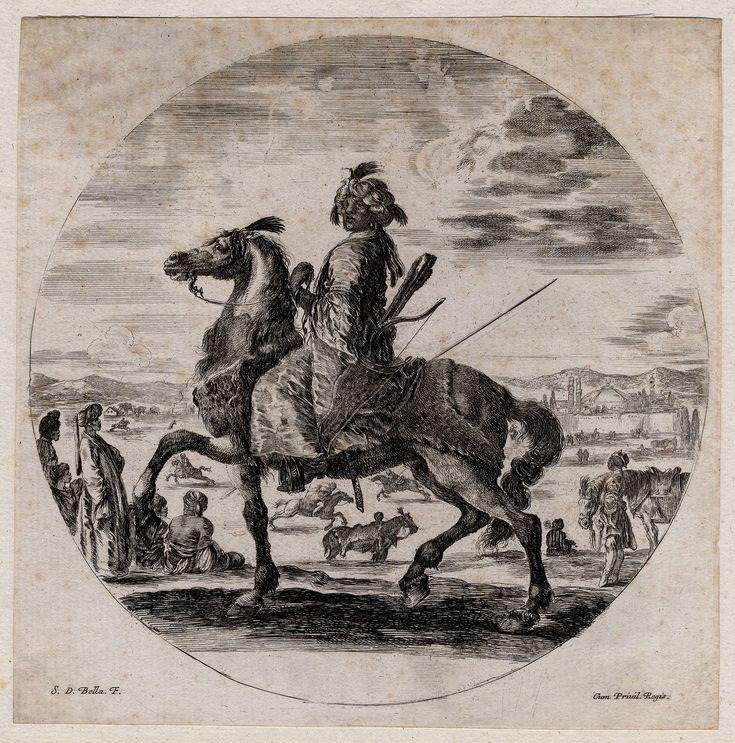 The Prints Collector :: A Moorish warrior on horseback, etching by Stefano della Bella (1610-1664).