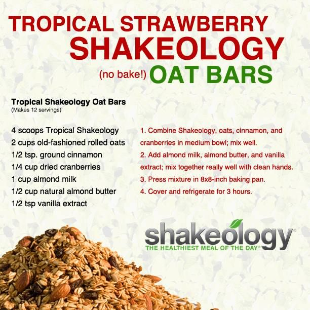 Tropical Strawberry Shakeology Oat Bars (Vegan & No Baking) Recipe http://www.shakeology.com/Jessicamvargas