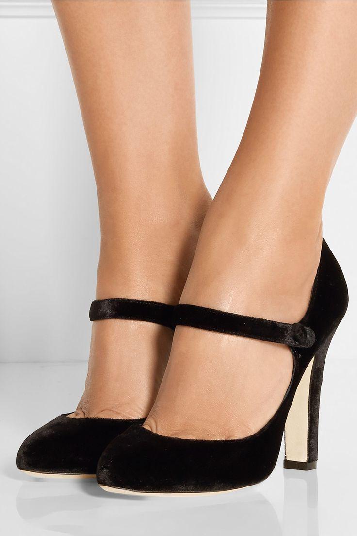Dolce & Gabbana|Velvet Mary Jane pumps|NET-A-PORTER.COM