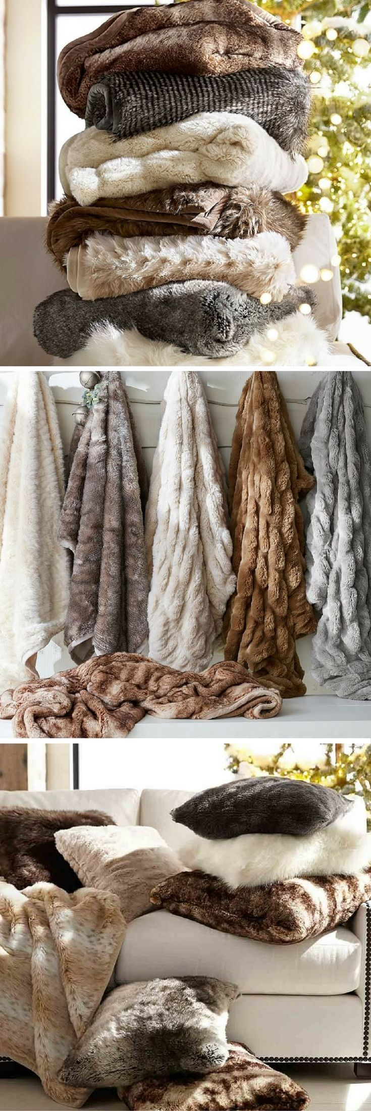 Faux Fur Throw   Throw Blanket   Warm Blanket   Christmas Present   Living Room Decor   Bedroom Decor   Home Accessories   Cozy   Machine Washable   Pottery Barn   Ad