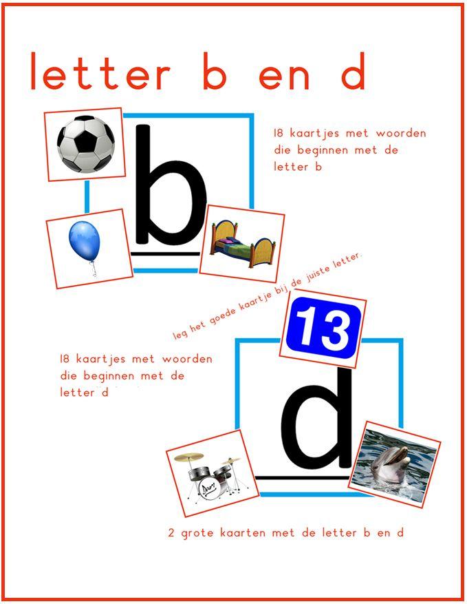 Letter b en d. Met 36 kleine kaartjes