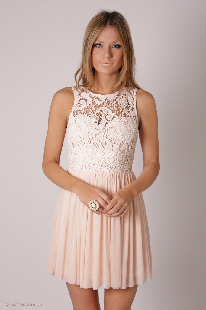 Cream baby pink lace