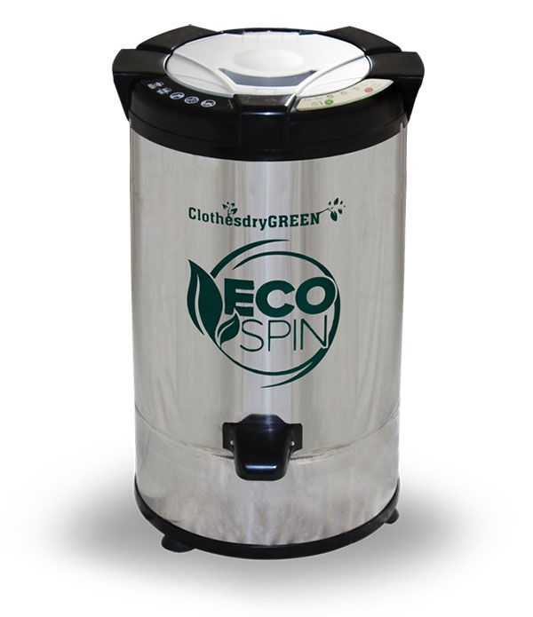 The EcoSpin spin dryer is a brand new way to use simple physics to save time and energy while doing your laundry, as well as leaving you with healthier clothes. After your normal spin cycle in the washer, simply place the clothes into the spin dryer according to the easy to understand instructions included with